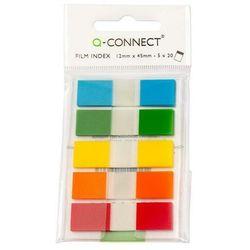 Zakładki indeksujące Q-CONNECT, PP, 12x45mm, 100 kart., zawieszka, mix kolorów
