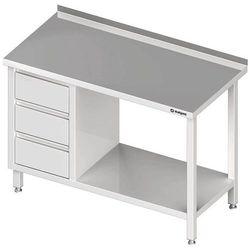 Stół przyścienny z blokiem trzech szuflad i półką