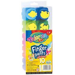 Farby do malowania palcami z pieczątkami 10 kolorów Colorino Kids