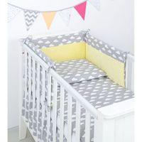Pościel, MAMO-TATO 3-el pościel do łóżeczka 70x140 minky Chmurki białe na szarym / żółty