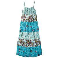 Sukienki dziecięce, Długa sukienka dziewczęca w kwiaty bonprix turkusowy z nadrukiem