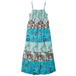 Długa sukienka dziewczęca w kwiaty bonprix turkusowy z nadrukiem