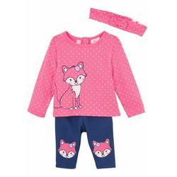 Shirt niemowlęcy + legginsy + opaska na włosy (3 części), bawełna organiczna bonprix różowo-kobaltowy