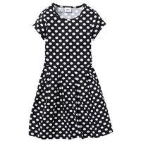 Sukienki dziecięce, Sukienka shirtowa w groszki bonprix czarno-biały w groszki