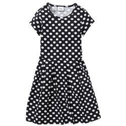 Sukienka shirtowa w groszki bonprix czarno-biały w groszki