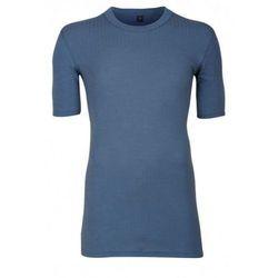 Koszulka męska z wełny merynosów (100%) - krótkie rękawy; dopasowana, delikatny prążkowany splot - ciemnoniebieska (prod. DILLING)