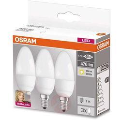 Żarówka świeczka LED E14 5,3W 827, matowa, 3 szt.