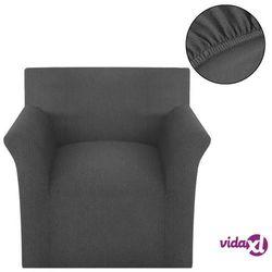 vidaXL Elastyczny pokrowiec na fotel, prążkowany, szary Darmowa wysyłka i zwroty