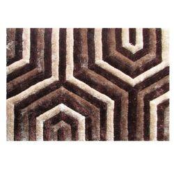 Dywan shaggy z efektem 3D GRANSA - 100% poliestru - kolor brązowy - 160 x 230 cm