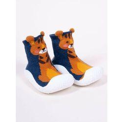 Skarpety z gumową podeszwą do nauki chodzenia z elementem 3D tygrys chłopięce 24