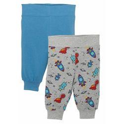 Spodnie niemowlęce z dżerseju (2 pary), bawełna organiczna bonprix jasnoszary melanż - kryształowy niebieski