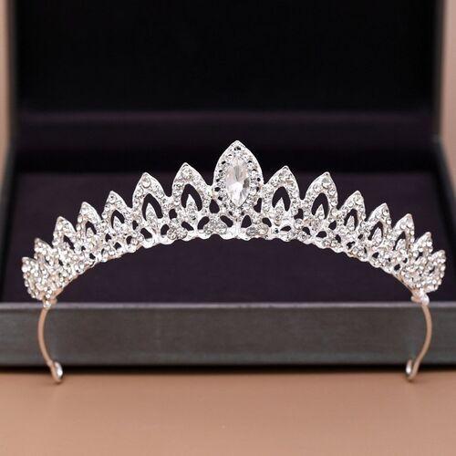 Pozostała biżuteria, Ozdoba ślubna do włosów korona diadem cyrkonie