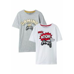 T-shirt chłopięcy z bawełny organicznej (2 szt.) bonprix jasnoszary melanż + biały