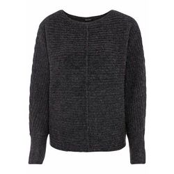 Sweter w warkocze, z ozdobnym guzikiem, długi rękaw bonprix dymny różowy