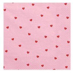 Serwetki urodzinowe różowe w czerwone serduszka - 33 cm - 20 szt.