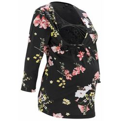 Shirt ciążowy i do karmienia piersią, bawełna organiczna bonprix czarny w kwiaty