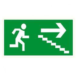Kierunek drogi ewakuacyjnej schodami w dół w prawo