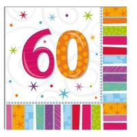 Pozostałe wyposażenie domu, Serwetki urodzinowe na sześćdziesiąte urodziny - 60tka - 33 x 33 cm - 16 szt.