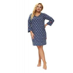 Bawełniana koszula nocna damska Dn-nightwear TB.9776 granatowa