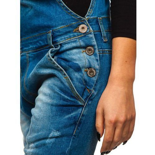 Spodnie damskie, Spodnie jeansowe ogrodniczki damskie niebieskie Denley 260