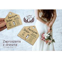 Zaproszenia ślubne z drewna - cyfrowy druk UV - ZAP009
