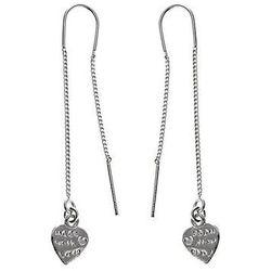 Przewlekane wiszące srebrne kolczyki serduszka serca heart srebro 925 K1929