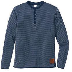 Shirt z długim rękawem, w paski Regular Fit bonprix ciemnoniebieski w paski