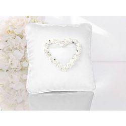 Poduszka pod obrączki biała z białymi różyczkami w kształcie serca - 1 szt.