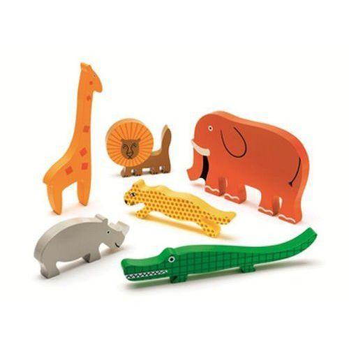 Puzzle, Puzzle drewniane Układanka z uchwytami zwierzęta Safari