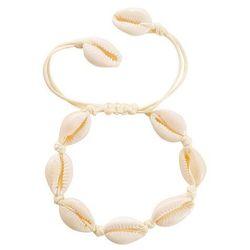 Bransoletka damska sznurek muszle muszelki kremowa - kremowa