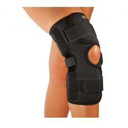 Neoprenowa orteza na kolano z regulacją kąta zgięcia-zapinana. Beżowa/Czarna
