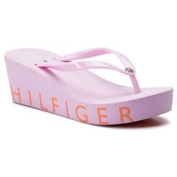 Japonki TOMMY HILFIGER - Hilfiger Wedge Beach Sandal FW0FW04057 Pink Lavender 518