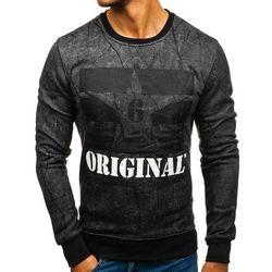 Bluza męska bez kaptura z nadrukiem grafitowa Denley DD257