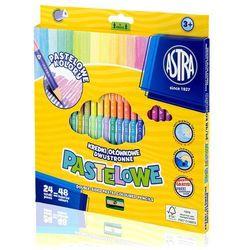 Kredki Astra Ołówkowe Trójkątne Dwustronne Pastelowe 24 Sztuk 48 Kolorów