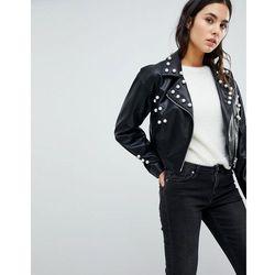ASOS Pearl Leather Look Biker Jacket - Black