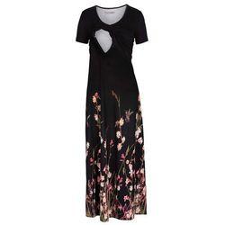 Długa sukienka ciążowa i do karmienia bonprix czarny w kwiaty
