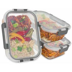 Klarstein Glaswerk Jardine pojemniki do przechowywania żywności, zestaw 3-częściowy, 1 komora 1040 ml, szkło borokrzemowe, pokrywki