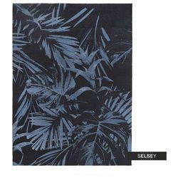 SELSEY Dywan łatwoczyszczący Dschubba niebieski liście 160x230 cm