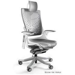 Fotel ergonomiczny biały WAU 2 Elastomer - Szary - ZŁAP RABAT: KOD150