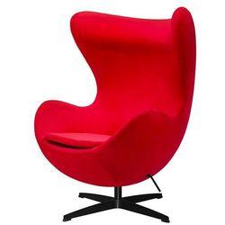 Fotel inspirowany jajo EGG CLASSIC VELVET BLACK czerwony - welur, podstawa czarna