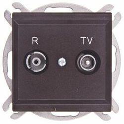Gniazdo antenowe RTV przelotowe 14dB Czekoladowy metalik - GPA-14RP/m/40 Sonata