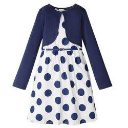Sukienka + pasek + bolerko (3 części) bonprix biało-niebieski w kropki