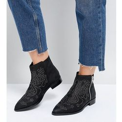 ASOS AUTO PILOT Wide Fit Suede Studded Ankle Boots - Black