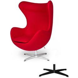 Fotel Jajo EGG CLASSIC - 3 kolory nóżek - wełna - Krwista czerwień, czerwony