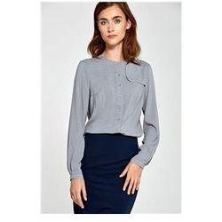 Bluzka z ozdobną klapą po lewej stronie B84 Grey/Kropki - Nife