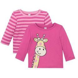 Koszulka niemowlęca z długim rękawem (2 szt.), bawełna organiczna bonprix różowo-jasnoróżowy