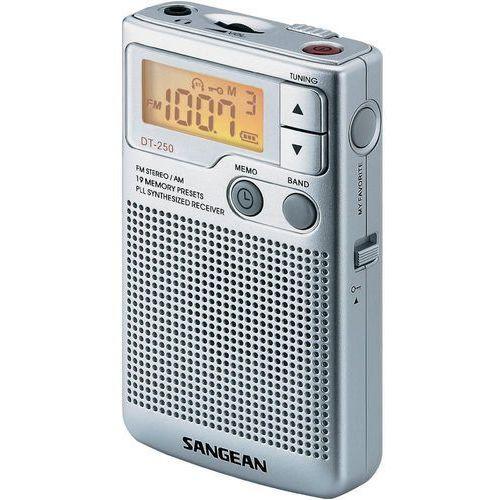 Radioodbiorniki, Radio kieszonkowe FM Sangean DT-250, Pamięć programów: 19, srebrny