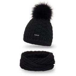 Komplet PaMaMi, czapka i komin - Czarny - Czarny
