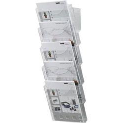 Uchwyt ścienny na prospekty, przezroczysty, 5 przegród do formatu DIN A4, wys. x
