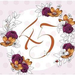 Karnet Swarovski kwadrat Urodziny 45 kwiaty